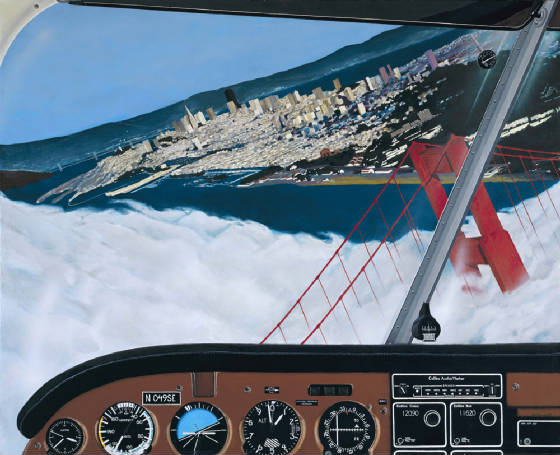 Golden Gate, aerial painting, San Francisco cityscape