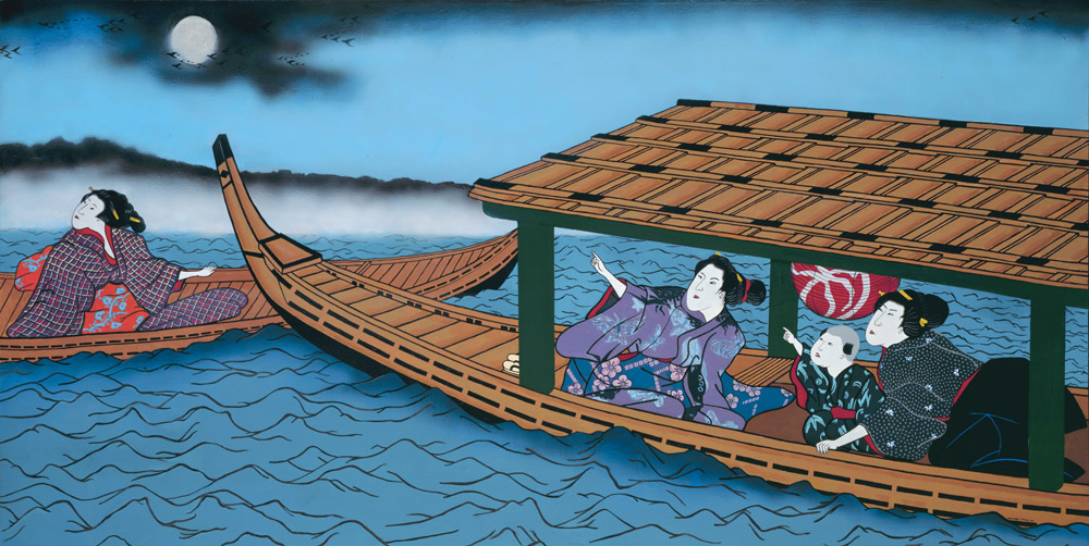 Japanese women painting, art print, Japanese boat, water scene, night